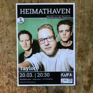 Taylor Konzert Plakat KUFA-Projekt Heimathaven März 2020