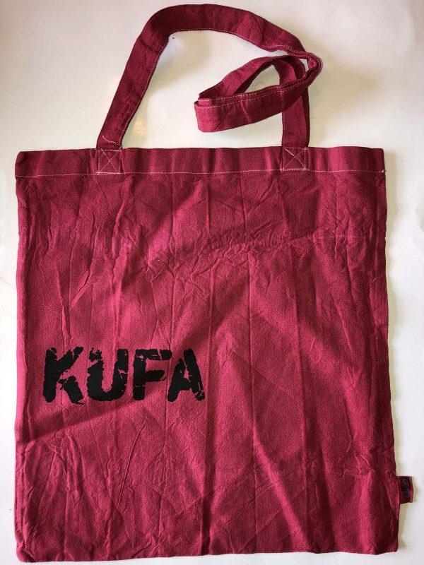 rubinroter Jutebeutel mit Aufdruck KUFA-Logo