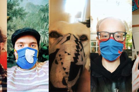 """Safety first: In der KUFA heißt es ab sofort """"Maske auf"""". Gesicht, Nase-Mund-Schutz, Behelfsmaske, Hund mit Maske, bunt, Corona, Hygienemaßnahme"""